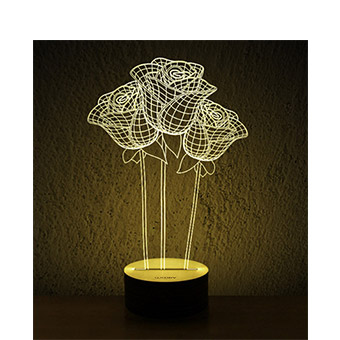 3d木质创意led灯/玫瑰花