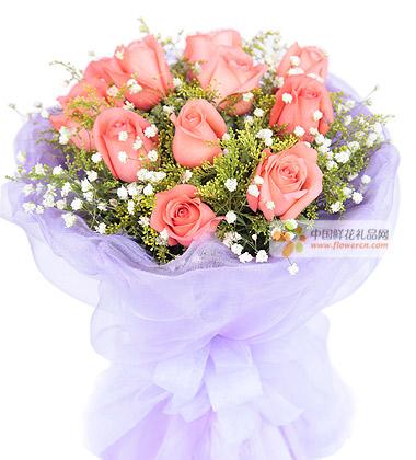11枝粉玫瑰,搭配适量的黄莺和满天星-粉玫瑰代表什么图片