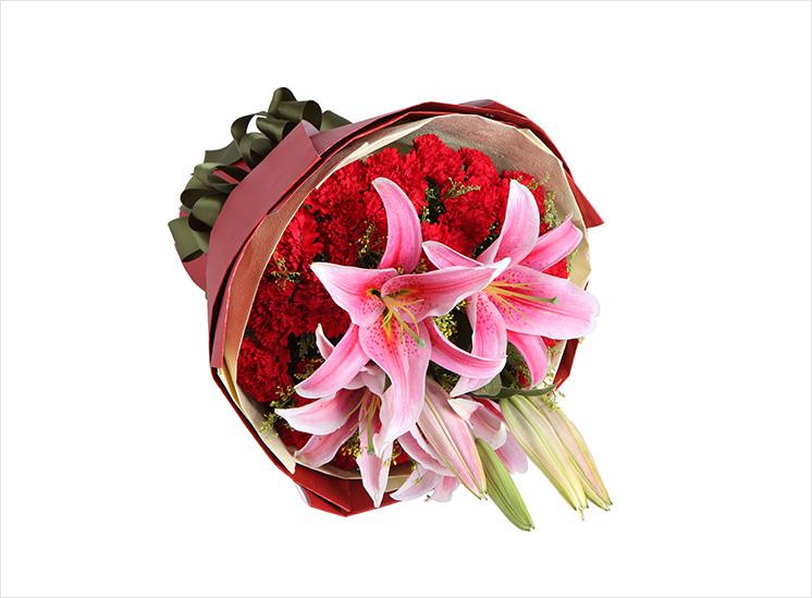 感激----29枝红康乃馨,2枝粉血型狮子座男百合a图片