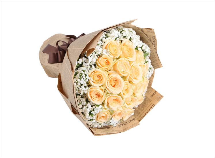 阳光海岸:19枝香槟玫瑰,白色石竹梅围绕_鲜花-中国
