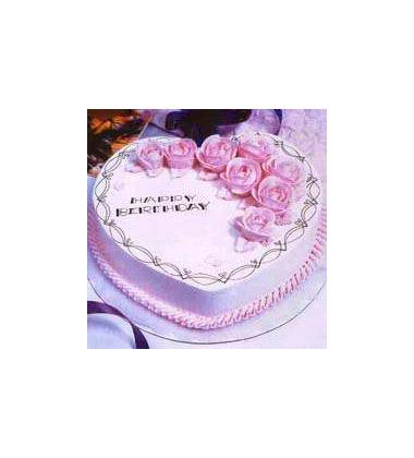 蛋糕 幸福时刻 2磅 8寸 心形鲜奶蛋糕,各色奶油装饰,上面有 H 中国鲜花礼品网