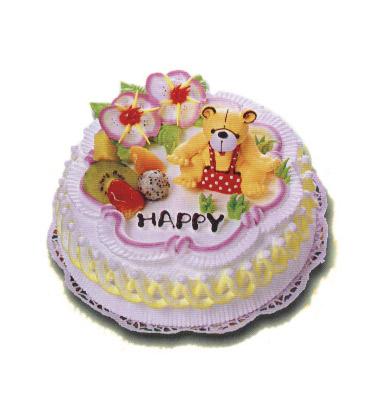 蛋糕/快乐小熊:2磅(8寸)鲜奶水果蛋糕:蛋糕上面放