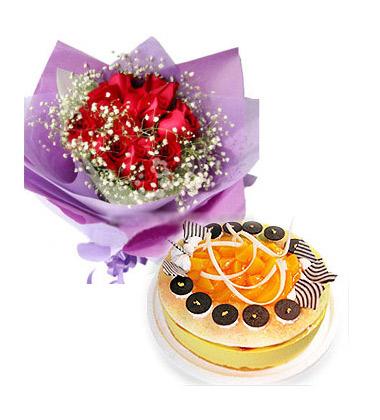 中国鲜花礼品网 组合礼品 花束 一心一意,11枝红玫瑰,满天星丰满搭
