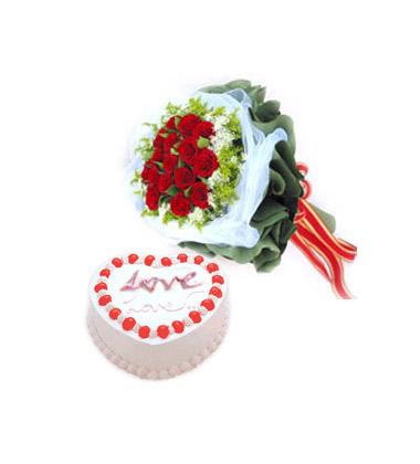 中国鲜花礼品网 组合礼品 花束 牵挂你的人是我,16支红玫瑰,黄莺和