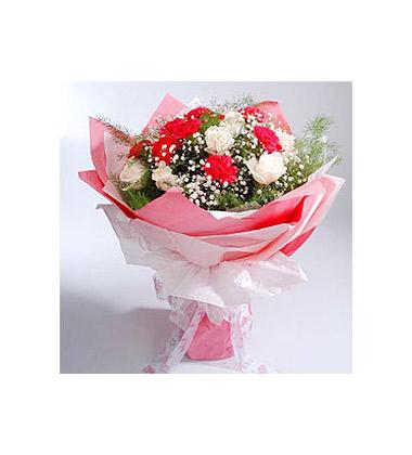 康乃馨区; 9枝白玫瑰+9枝康乃馨/芳香●康乃馨