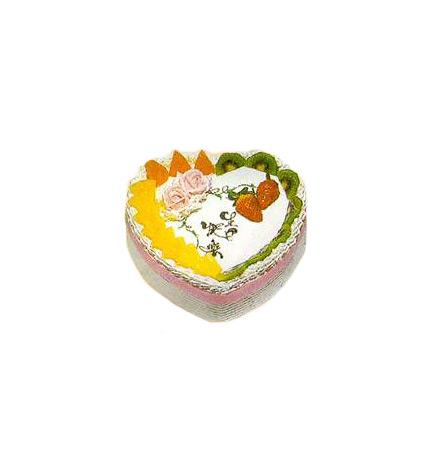 桃心玫瑰花水果蛋糕图片